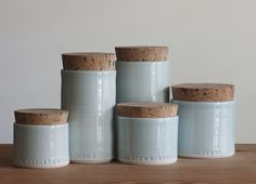 set of 5 custom labeled porcelain containers. by vitrifiedstudio