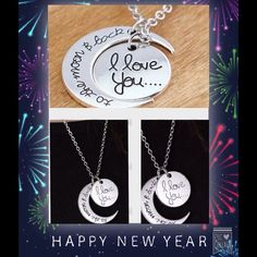 Silver 'I love you to the moon and back' necklace The round pendant says 'I love you'  and the concave pendant says 'to the moon and back' Jewelry Necklaces