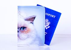 Queen Cat Passport Cover - Recycled Paper Passport Cover with White Fluffy Cat. $14.00, via Etsy.