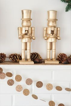 DIY Golden Nutracker + Chestnut Holiday Mantel