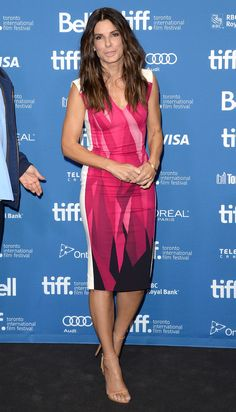 The star wore a graphic pink printed Roland Mouret dress at the Toronto Film Festival. via StyleList
