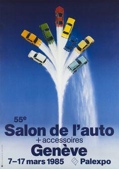 Genève, 55e Salon de l'Auto + Accessoires, Mars 1985 – Vintage poster – Edgar KUNG – 1985 Original Vintage, Travel Posters, Vintage Posters, Marie, The Originals, Switzerland, Accessories, Posters, Exhibitions
