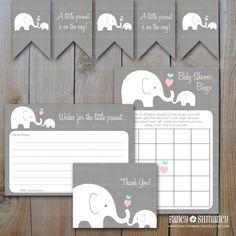Elephant+Baby+Shower+Set+/+Little+Peanut+by+fancyshmancynotes,+$12.00