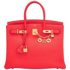 Hermes Capucine Red-Orange 35cm Togo Birkin Bag Gold Hardware 1