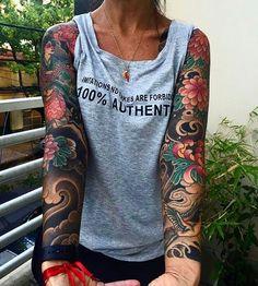 Japanese tattoo sleeves by @rolytattooquilmes.  #japaneseink #japanesetattoo #irezumi #tebori #colortattoo #colorfultattoo #cooltattoo #largetattoo #armtattoo #chesttattoo #tattoosleeve #girltattoo #flowertattoo #peonytattoo #chrysanthemumtattoo #birdtattoo #swallowtattoo #geishatattoo #blackwork #blackink #blacktattoo #wavetattoo #naturetattoo