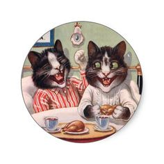 Vintage Stickers - Cats Breakfast in Bed An unusual series of vintage illustrations featuring different animals having breakfast in bed. Th...
