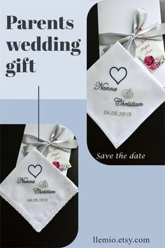 Parents wedding gift Handkerchief Embroidery, Wedding Handkerchief, Wedding Gifts For Parents, Best Wedding Gifts, Wedding Groom, Wedding Day, Parent Gifts, Father Of The Bride, Personalized Wedding Gifts