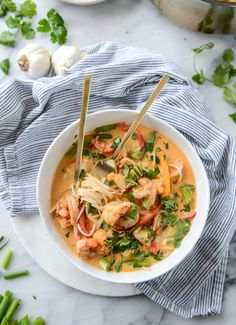 Thai Coconut Curry Shrimp Noodle Bowls. - How Sweet Eats