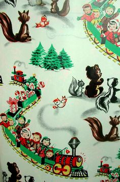 How precious is this vintage 1954 Christmas wrapping paper? Vintage Christmas Wrapping Paper, Vintage Christmas Images, Old Christmas, Old Fashioned Christmas, Christmas Gift Wrapping, Christmas Paper, Retro Christmas, Christmas Crafts, Christmas Train
