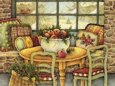 February Calendar, Warn and Sweet Home , Lisa Blowers Drawings Wallpaper Decoupage Vintage, Decoupage Paper, Art And Illustration, Susan Wheeler, Picture Table, Arte Country, Gif Animé, Winter Pictures, Naive Art