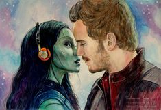 Guardians of the Galaxy. Gamora, Peter Quill by Knesya27 on DeviantArt