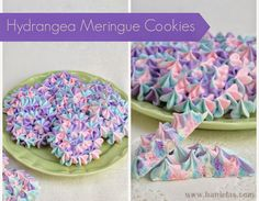 Hydrangea Meringue Cookies MERINGUE COOKIES  RECIPE (12 large Hydrangea Cookies) 4  room temperature egg whites 1 c granulated sugar 1 tsp vanilla extract, use only alcohol based extracts pinch of salt Pink, Purple, Royal Blue Food Coloring ( I used Americolos Gel Color)  Prepare template, draw circles onto the parchment paper (use a glass, cookie cutter to make even circles), flip the paper ink/graphite down, secure it onto the back of the baking sheet with some Crisco, set aside.  In the clean bowl of your mixer whisk together egg whites, sugar and a pinch of salt. Put the bowl over the pot of simmering water. Stir with the whisk until sugar is dissolved, about  3-5 minutes. Transfer bowl onto the mixer and beat on high,  add vanilla extract,  beat until glossy and thick meringue has formed. Meringue should hold the peak. Divide into 3 portions, color each portion with different color, pink, purple and blue. Fold the color into the meringue. Fill the piping bags.  Fit the large piping bag with the Wilton 2D piping tip. Place all 3 piping bags filled with meringues into one large piping bag fitter with the piping tip. Start piping. As soon as you see all 3 colored meringues coming out, start piping onto the parchment, using the template as a guide, pipe circles first and then fill the centers.  Bake at 175F, for 2 hours, then turn of the oven and leave the cookie in the oven, until oven cools down, best to leave them overnight. Next day, peel the cookies from the parchment, store in the airtight container, layered between pieces of wax paper.