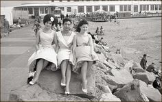 Old Photo of ladies Beach side of the Midland Hotel, Morecambe Miss Great Britain, Midland Hotel, British Holidays, Seaside Holidays, Beautiful Landscape Photography, Morecambe, Seaside Resort, Future Wife, Woman Beach