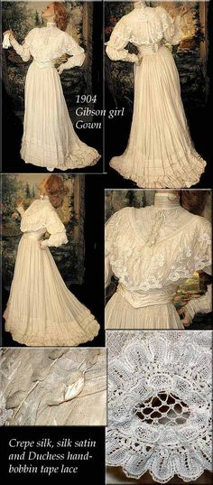 1904 Edwardian Silk and Duchess Lace Gown with Juliette sleeves      Made of Candlelight silk Georgette with Juliette sleeves, tucks and Duchesse Lace and silk satin belt.