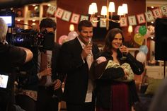 """Booth and Brennan Have Champagne at Baby Christine's Welcome Party in Season 7, Episode 7: """"The Prisoner in the Pipe"""""""