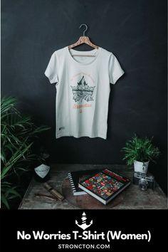 """Aufdruck No Worries About Tomorrow auf einem 100% Bio-Baumwoll Round Neck T-Shirt. Das Design ist auf 100 St. limitiert und mit einem """"LTD Created On"""" Label gekennzeichnet und erhält damit einen besonderen Charakter. Nachhaltige Materialien und faire Produktion. Tipp: Ärmel 2-mal umschlagen, und schon hast du ein Roll-Sleeve Shirt. 1,- € aus jedem Verkauf spenden wir für wohltätige Zwecke. Mehr Ideen für nachhaltige Outfits und Accessoires findest du bei Stroncton im Online Shop #stroncton Clothing Company, My Outfit, Live Stream, My Design, Sweatshirt, Designs, T Shirts For Women, Drop, Mens Tops"""
