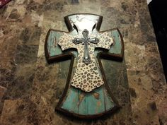 Decorated layered wooden cross by ShaneCreekCrafts on Etsy,