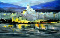 100x70 cm ©2014 por  Jordi Serrat Jurado Watercolours, Paintings, Shopping, Impressionism, Artworks, Artists, Paint, Painting Art, Painting