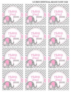 INSTANT DOWNLOAD Elephant Baby Shower Favor by TheColorfulScoot