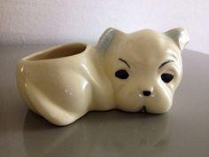 Vintage Ceramic Bulldog Pincushion Holder by rarebirdboutique, $12.75 #bulldog #vintage