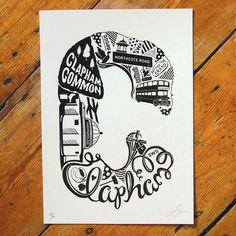 Best of Clapham - London print - London poster - London Art - Typographic Print - London illustration - letter art - South London poster London Poster, London Art, London Illustration, Graphic Illustration, London Christmas Gifts, South London, Typography Letters, Letter Art, Graphic Prints