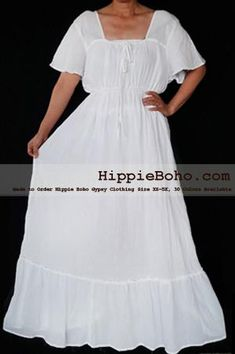 f7c8cdcfdc8 No.463- Size XS-7X Handmade Hippie Boho Gypsy Bohemian Bell Wide Sleeve  White Maxi Dress Plus Size Women s Long Dress