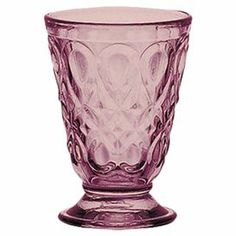 "Set of six tumbler glasses with a pressed teardrop motif. Made in France.     Product: Set of 6 tumbler glassesConstruction Material: GlassColor: AmethystFeatures: Made in France Dimensions: 4.25"" H x 3"" DiameterCleaning and Care: Dishwasher safe"