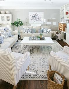 Create this giant piece of artwork from individual pictures. Such a great idea for a big blank wall. diy Family room What To Put On a Big Blank Wall - Thistlewood Farm Coastal Living Rooms, Home Living Room, Living Room Designs, Living Room Furniture, Cottage Style Living Room, Diy Furniture, Coastal Cottage, Living Room Sets, Living Room Decor Blue