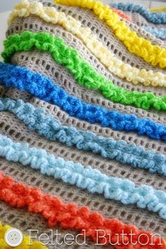Ruffled Ribbons Blanket & Mat crochet pattern by Susan Carlson of Felted Button