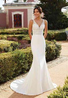 Sincerity Bridal Wedding Dresses, Slim Wedding Dresses, Fitted Wedding Gown, Crepe Wedding Dress, V Neck Wedding Dress, Wedding Dress Pictures, Fit And Flare Wedding Dress, Designer Wedding Dresses, Bridal Dresses