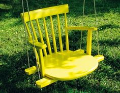Old Chair = Swing Kid's Swing What a fun color! This DIY porch swing used to be a rocking chair. The basic steps involved for making this swing are cutting the legs off, … Old Rocking Chairs, Old Chairs, Wooden Chairs, Porch Chairs, Mismatched Chairs, White Chairs, Vintage Chairs, Diy Garden, Garden Cottage