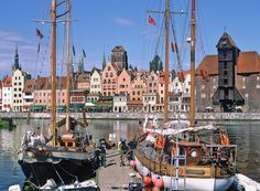 gdansk poland   Marina in Gdansk Old Town, Great Crane to the right
