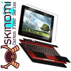 Skinomi TechSkin - Asus Transformer Pad TF300 Screen Protector Ultra Clear Shield + Black Carbon Fiber Full Body Protective Skin + Lifetime Warranty (Keyboard & Tablet Combo)