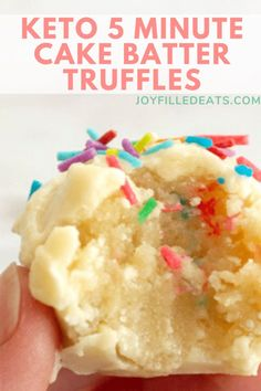 You can make a small batch of these Cake Batter Truffles in just 5 minutes! They taste like a bite of sprinkle laden birthday cake. You can make a small batch of keto truffles in 5 minutes! These keto truffles are vibrant, easy to make, and absolutely delicious. Keto Cake Batter Truffles are the next big thing when it comes to desserts!  They are great for on-the-go