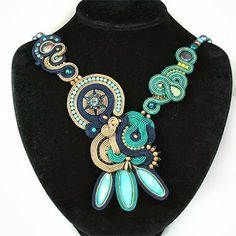 Soutache necklace in turquoise and blue from djenkowo.blogspot.com
