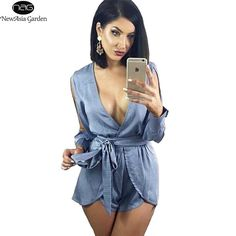 205224ad807 Split Long Sleeve Autumn Spring Summer Layers Choker Belt Plunge V Neck  Women s Playsuits Jumpsuits Rompers