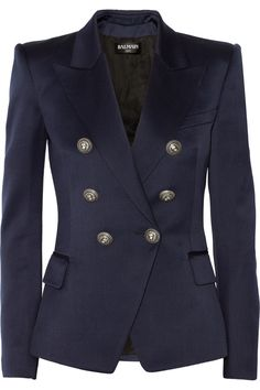Double-breasted strong shoulder navy blue #blazer with lion head embossed buttons by Balmain. #jacket