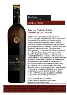 Lagar de Pintos 2010 proviene de uvas recogidas en perfecto estado de maduración, vendimiadas manualmente, de nuestros propios viñedos cuya media de edad supera los 30 años. #vino #Rias #Baixas #bodega #wine