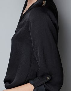 SILK BLOUSE WITH STUDDED SHOULDERS - Shirts - Woman - ZARA