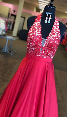 promo dress, halter red long prom dress, 2018 long prom dress, formal evening dress