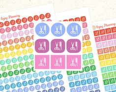Printable Haircut stickers Printable Planner Stickers Printable Icons Printable stickers Haircut stickers Icon stickers Mambi Erin Condren by EnjoyPlanning on Etsy