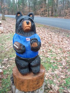 New York Giants Chainsaw Carved Bear by carvnstitch on Etsy