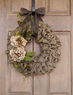 Burlap Wreath with Beige Peony flowers--Burlap Wreath with Earth Tone Flowers and Accents--Burlap Wreath--Year Round Burlap Wreath. $65.00, via Etsy.
