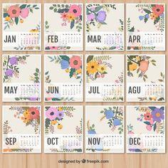 lovely floral calendar I Free Vector