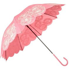 Pink poppy print umbrella ❤ liked on Polyvore