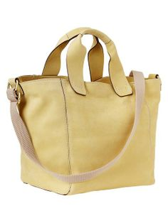 yellow Crossbody leather tote