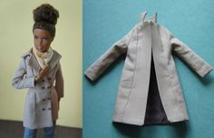 Sewing Clothes Patterns Doll Trench Coat Sewing Pattern - Sew a wardrobe of fashions for Barbie, Bratz, Monster High, and more with these free fashion doll clothes sewing patterns! Sewing Barbie Clothes, Barbie Sewing Patterns, Coat Pattern Sewing, Doll Dress Patterns, Coat Patterns, Sewing Patterns Free, Clothing Patterns, Free Sewing, Sewing Dolls