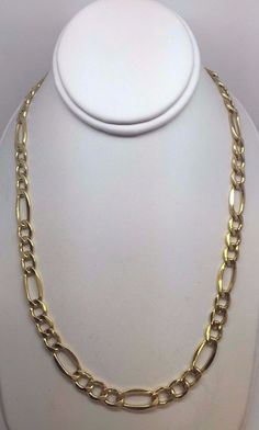 """10K Yellow Gold Hollow Figaro Link Chain Necklace 22"""" 9.2 grams 7.2 mm  #Chain"""