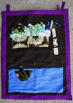 African textile chitenge collage, naive style, provenance - Zambia (3 items) #African