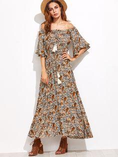 Shop Off The Shoulder Fringe Detail Dress online. SheIn offers Off The Shoulder Fringe Detail Dress & more to fit your fashionable needs.